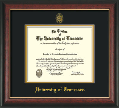 Image of University of Tennessee Diploma Frame - Rosewood w/Gold Lip - w/Embossed UTK Seal & Name - Black on Gold Mat