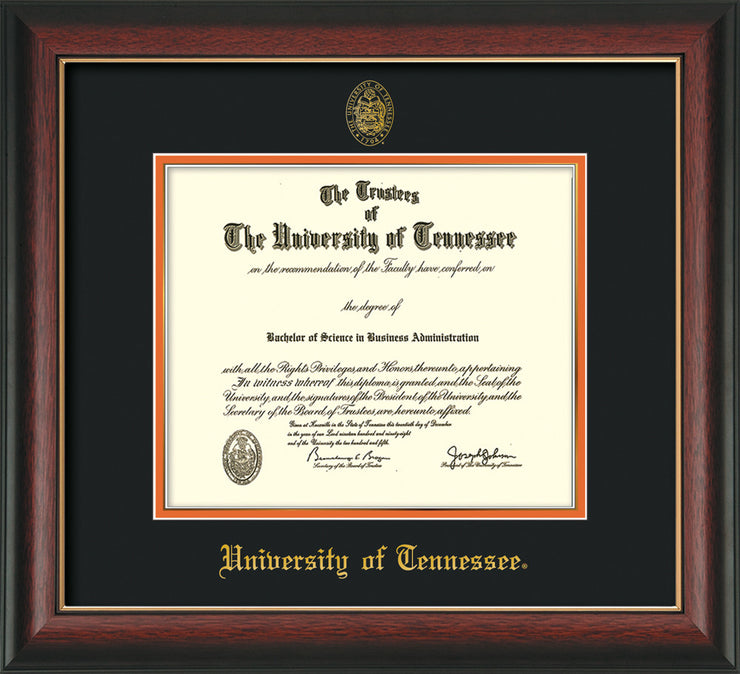 Image of University of Tennessee Diploma Frame - Rosewood w/Gold Lip - w/Embossed UTK Seal & Name - Black on Orange Mat