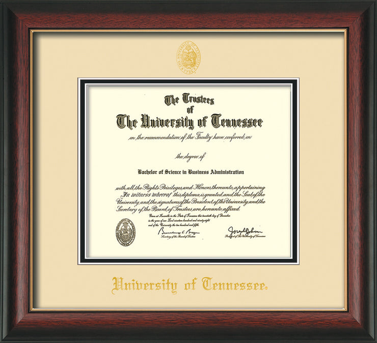 Image of University of Tennessee Diploma Frame - Rosewood w/Gold Lip - w/Embossed UTK Seal & Name - Cream on Black Mat