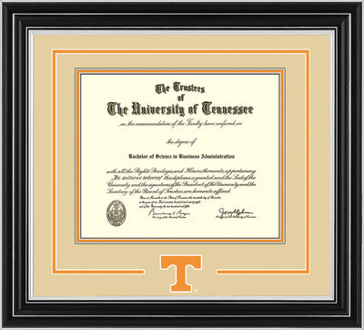 Image of University of Tennessee Diploma Frame - Satin Silver - w/Laser Power T Logo Cutout - Cream on Orange mat