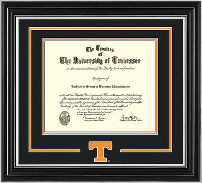 Image of University of Tennessee Diploma Frame - Satin Silver - w/Laser Power T Logo Cutout - Black on Orange mat