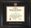 Image of University of Tennessee Diploma Frame - Vintage Black Scoop - w/24k Gold Plated Medallion UTK Name Embossing - Black on Orange Mat