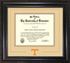 Image of University of Tennessee Diploma Frame - Vintage Black Scoop - w/Laser Power T Logo Cutout - Cream on Orange mat