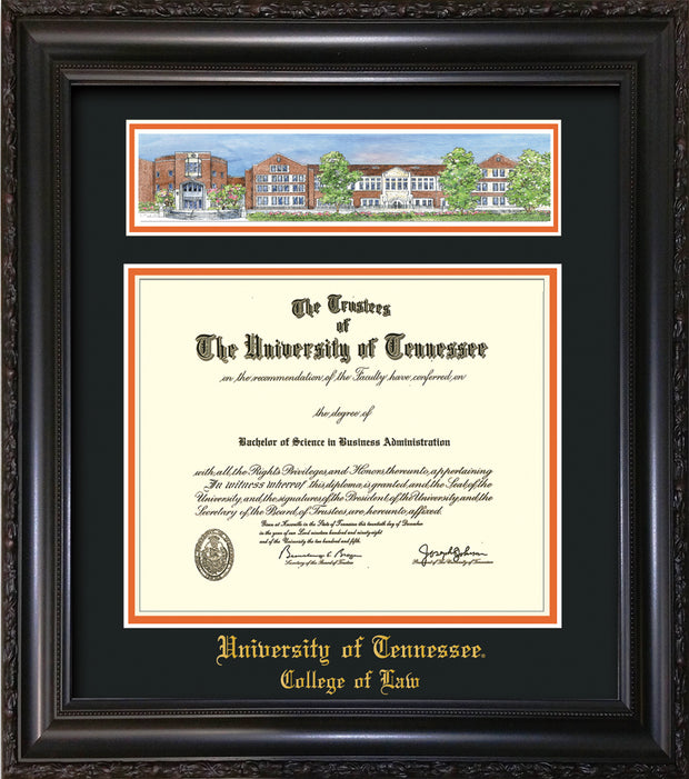 Image of University of Tennessee Diploma Frame - Vintage Black Scoop - w/Embossed College of Law Name Only - Campus Collage - Black on Orange mat