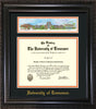 Image of University of Tennessee Diploma Frame - Vintage Black Scoop - w/Embossed UTK School Name Only - Campus Collage - Black on Orange mat