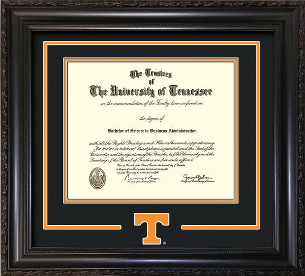Image of University of Tennessee Diploma Frame - Vintage Black Scoop - w/Laser Power T Logo Cutout - Black on Orange mat