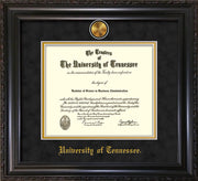 Image of University of Tennessee Diploma Frame - Vintage Black Scoop - w/24k Gold Plated Medallion UTK Name Embossing - Black Suede on Gold Mat