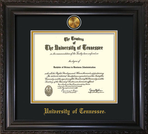 Image of University of Tennessee Diploma Frame - Vintage Black Scoop - w/24k Gold Plated Medallion UTK Name Embossing - Black on Gold Mat
