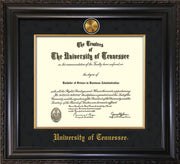 Image of University of Tennessee Diploma Frame - Vintage Black Scoop - w/24k Gold Plated Medallion & Fillet - w/UTK Name Embossing - Black Suede Mat