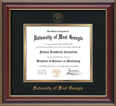 Image of University of West Georgia Diploma Frame - Cherry Lacquer - w/UWG Embossed Seal & Name - Black on Gold mat