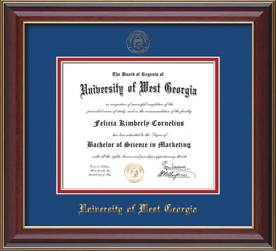 Image of University of West Georgia Diploma Frame - Cherry Lacquer - w/UWG Embossed Seal & Name - Royal Blue on Crimson mat