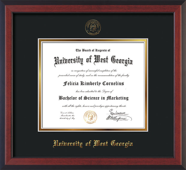 Image of University of West Georgia Diploma Frame - Cherry Reverse - w/UWG Embossed Seal & Name - Black on Gold mat