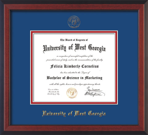 Image of University of West Georgia Diploma Frame - Cherry Reverse - w/UWG Embossed Seal & Name - Royal Blue on Crimson mat