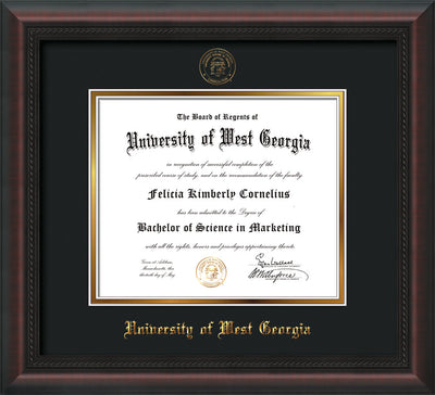 Image of University of West Georgia Diploma Frame - Mahogany Braid - w/UWG Embossed Seal & Name - Black on Gold mat