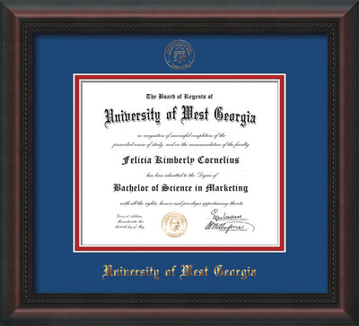 Image of University of West Georgia Diploma Frame - Mahogany Braid - w/UWG Embossed Seal & Name - Royal Blue on Crimson mat