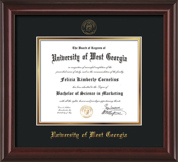 Image of University of West Georgia Diploma Frame - Mahogany Lacquer - w/UWG Embossed Seal & Name - Black on Gold mat