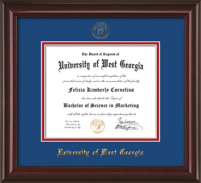 Image of University of West Georgia Diploma Frame - Mahogany Lacquer - w/UWG Embossed Seal & Name - Royal Blue on Crimson mat
