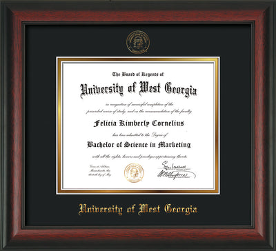 Image of University of West Georgia Diploma Frame - Rosewood - w/UWG Embossed Seal & Name - Black on Gold mat