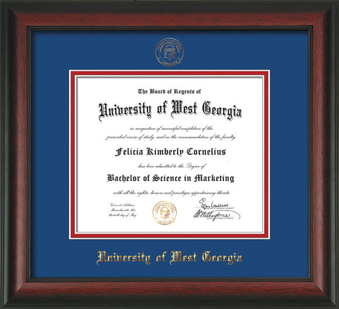 Image of University of West Georgia Diploma Frame - Rosewood - w/UWG Embossed Seal & Name - Royal Blue on Crimson mat