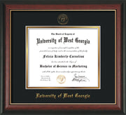 Image of University of West Georgia Diploma Frame - Rosewood w/Gold Lip - w/UWG Embossed Seal & Name - Black on Gold mat