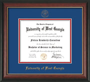 Image of University of West Georgia Diploma Frame - Rosewood w/Gold Lip - w/UWG Embossed Seal & Name - Royal Blue on Crimson mat