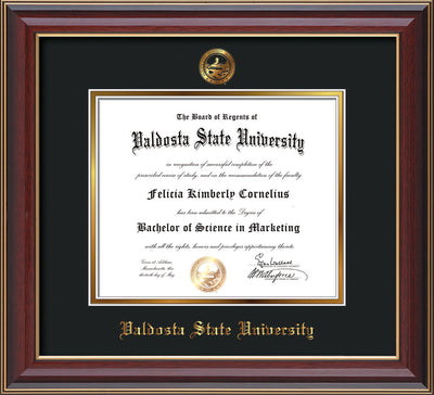 Image of Valdosta State University Diploma Frame - Cherry Lacquer - w/Embossed Seal & Name - Black on Gold mats
