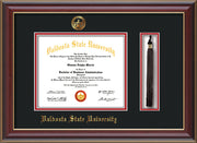 Image of Valdosta State University Diploma Frame - Cherry Lacquer - w/Embossed Seal & Name - Tassel Holder - Black on Red mats