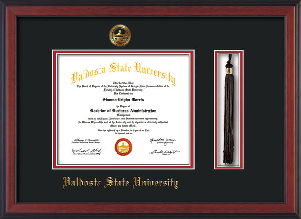 Image of Valdosta State University Diploma Frame - Cherry Reverse - w/Embossed Seal & Name - Tassel Holder - Black on Red mats