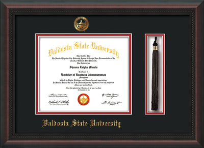 Image of Valdosta State University Diploma Frame - Mahogany Braid - w/Embossed Seal & Name - Tassel Holder - Black on Red mats