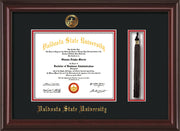 Image of Valdosta State University Diploma Frame - Mahogany Lacquer - w/Embossed Seal & Name - Tassel Holder - Black on Red mats