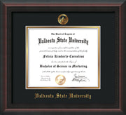 Image of Valdosta State University Diploma Frame - Mahogany Braid - w/Embossed Seal & Name - Black on Gold mats
