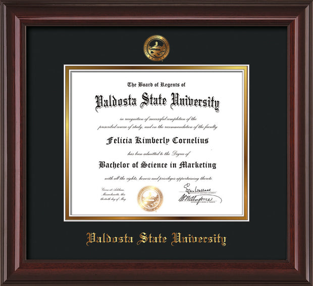 Image of Valdosta State University Diploma Frame - Mahogany Lacquer - w/Embossed Seal & Name - Black on Gold mats