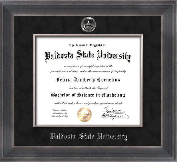 Image of Valdosta State University Diploma Frame - Metro Antique Pewter Double - w/Embossed Seal & Name - Silver Fillet - Black Suede mat