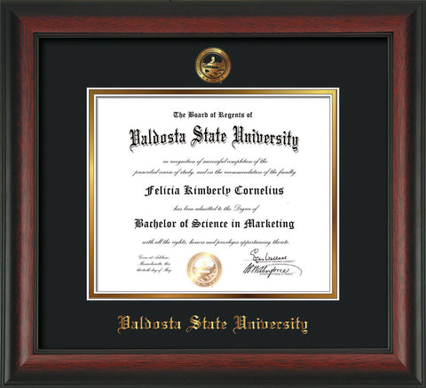 Image of Valdosta State University Diploma Frame - Rosewood - w/Embossed Seal & Name - Black on Gold mats