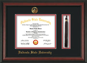 Image of Valdosta State University Diploma Frame - Rosewood - w/Embossed Seal & Name - Tassel Holder - Black on Red mats