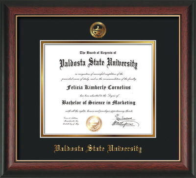 Image of Valdosta State University Diploma Frame - Rosewood w/Gold Lip - w/Embossed Seal & Name - Black on Gold mats