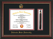 Image of Valdosta State University Diploma Frame - Rosewood w/Gold Lip - w/Embossed Seal & Name - Tassel Holder - Black on Red mats