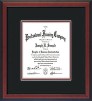 Image of Custom Cherry Reverse Art and Document Frame with Black on Maroon Mat Vertical