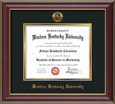 Image of Western Kentucky University Diploma Frame - Cherry Lacquer - w/Embossed WKU Seal & Name - Black on Gold mat