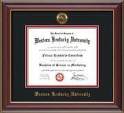 Image of Western Kentucky University Diploma Frame - Cherry Lacquer - w/Embossed WKU Seal & Name - Black on Red mat