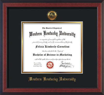 Image of Western Kentucky University Diploma Frame - Cherry Reverse - w/Embossed WKU Seal & Name - Black on Gold mat