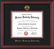 Image of Western Kentucky University Diploma Frame - Cherry Reverse - w/Embossed WKU Seal & Name - Black on Red mat