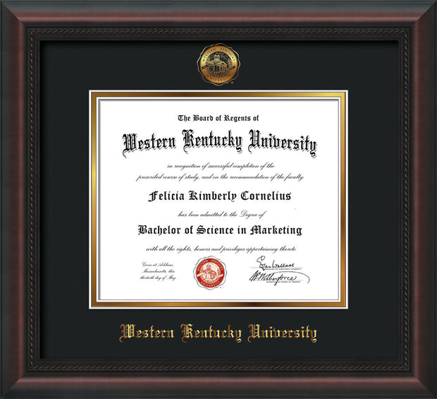 Image of Western Kentucky University Diploma Frame - Mahogany Braid - w/Embossed WKU Seal & Name - Black on Gold mat