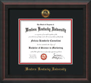 Image of Western Kentucky University Diploma Frame - Mahogany Braid - w/Embossed WKU Seal & Name - Black on Red mat
