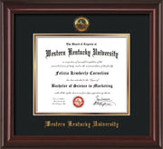 Image of Western Kentucky University Diploma Frame - Mahogany Lacquer - w/Embossed WKU Seal & Name - Black on Gold mat