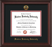 Image of Western Kentucky University Diploma Frame - Mahogany Lacquer - w/Embossed WKU Seal & Name - Black on Red mat