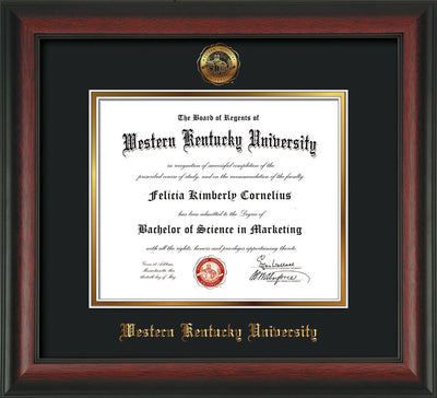 Image of Western Kentucky University Diploma Frame - Rosewood - w/Embossed WKU Seal & Name - Black on Gold mat