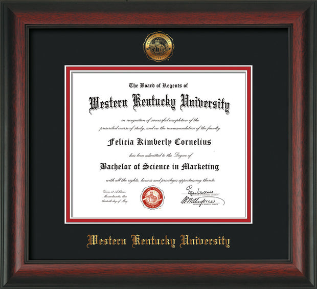 Image of Western Kentucky University Diploma Frame - Rosewood - w/Embossed WKU Seal & Name - Black on Red mat