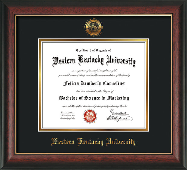 Image of Western Kentucky University Diploma Frame - Rosewood w/Gold Lip - w/Embossed WKU Seal & Name - Black on Gold mat