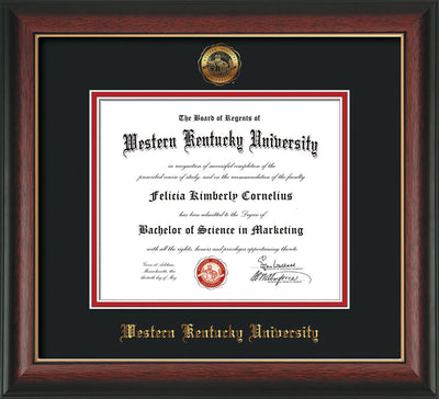 Image of Western Kentucky University Diploma Frame - Rosewood w/Gold Lip - w/Embossed WKU Seal & Name - Black on Red mat